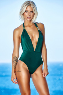 Green Deep Plunge One Piece