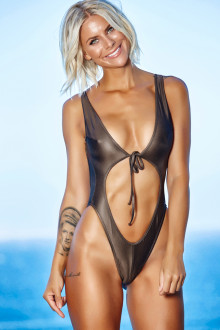 Gray Open Front Swimsuit