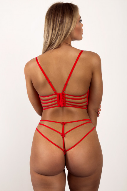 Red Lace Up Set