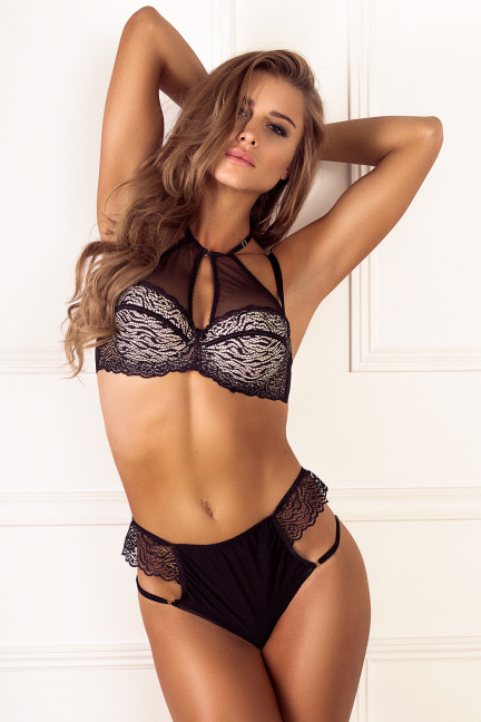 Mesh Top Balconette Bra