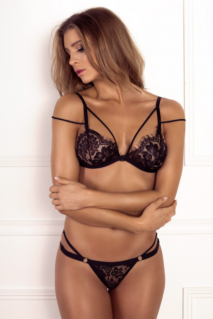 Black Double Strap Flower Thong