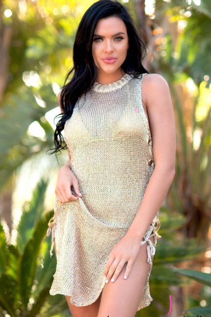 Gold Metallic Cover-Up Dress